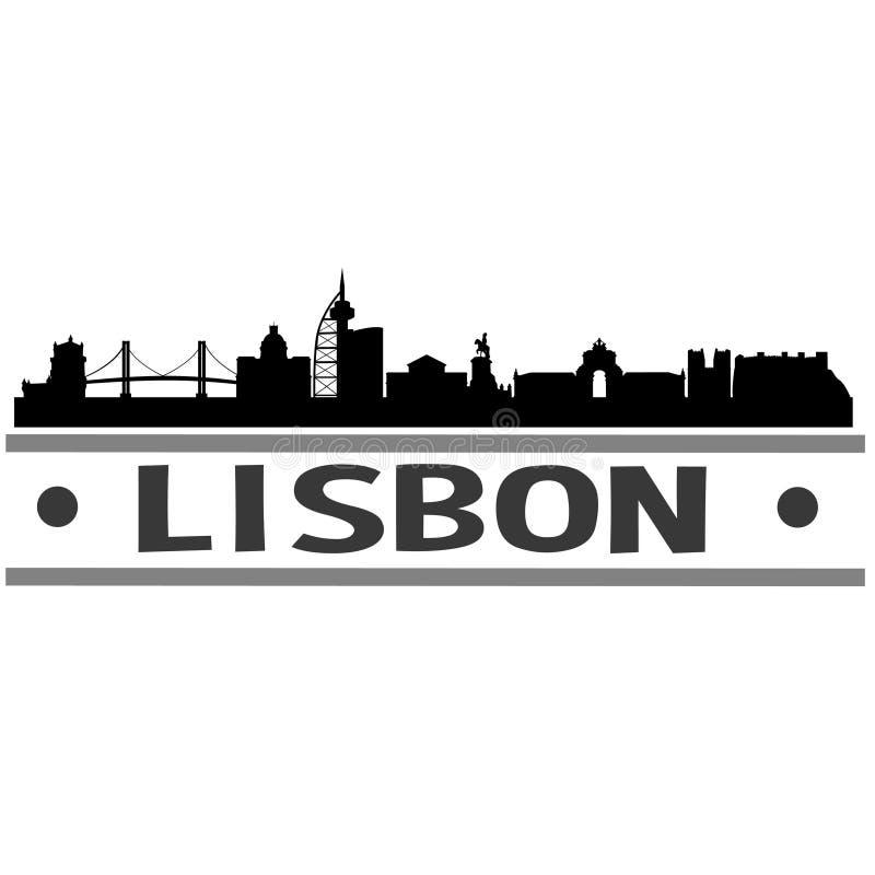 Διανυσματικό σχέδιο τέχνης εικονιδίων πόλεων οριζόντων της Λισσαβώνας ελεύθερη απεικόνιση δικαιώματος
