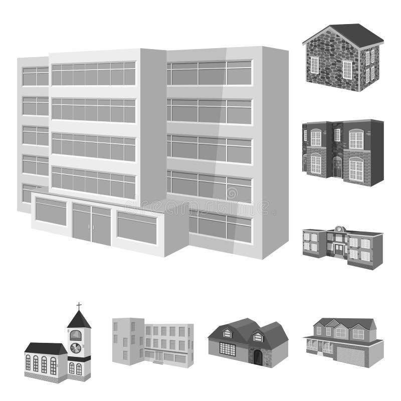 Διανυσματικό σχέδιο της αρχιτεκτονικής και του λογότυπου κτημάτων Σύνολο αρχιτεκτονικής και διανυσματικού εικονιδίου κατοικίας γι ελεύθερη απεικόνιση δικαιώματος