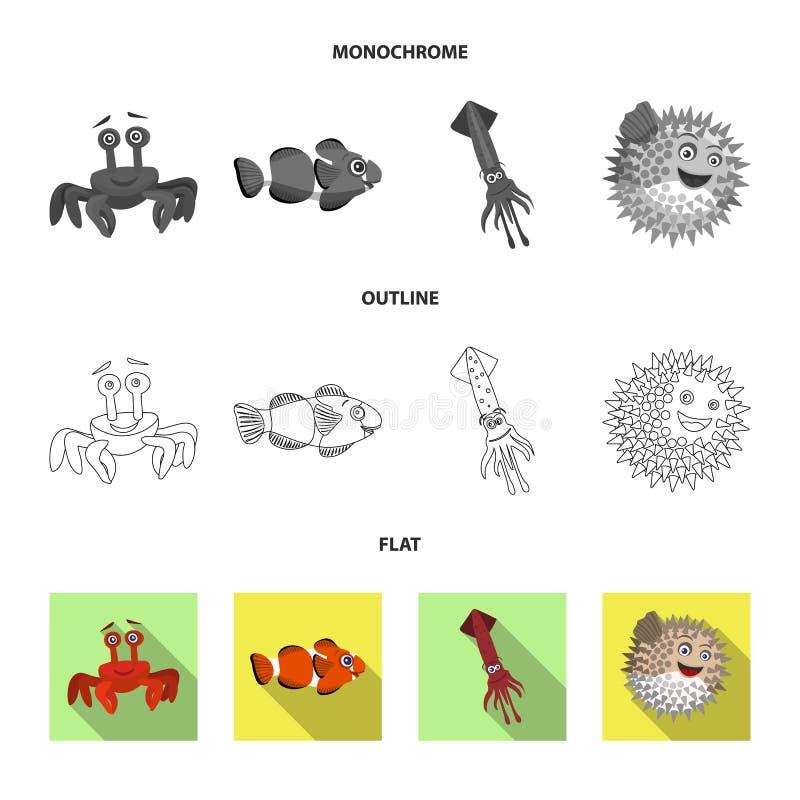 Διανυσματικό σχέδιο της θάλασσας και ζωικό σημάδι Συλλογή της θάλασσας και θαλάσσια διανυσματική απεικόνιση αποθεμάτων ελεύθερη απεικόνιση δικαιώματος