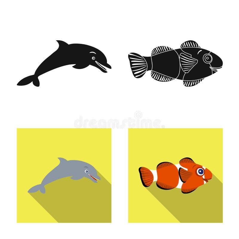 Διανυσματικό σχέδιο της θάλασσας και ζωικό σημάδι Σύνολο θάλασσας και θαλάσσιου συμβόλου αποθεμάτων για τον Ιστό διανυσματική απεικόνιση