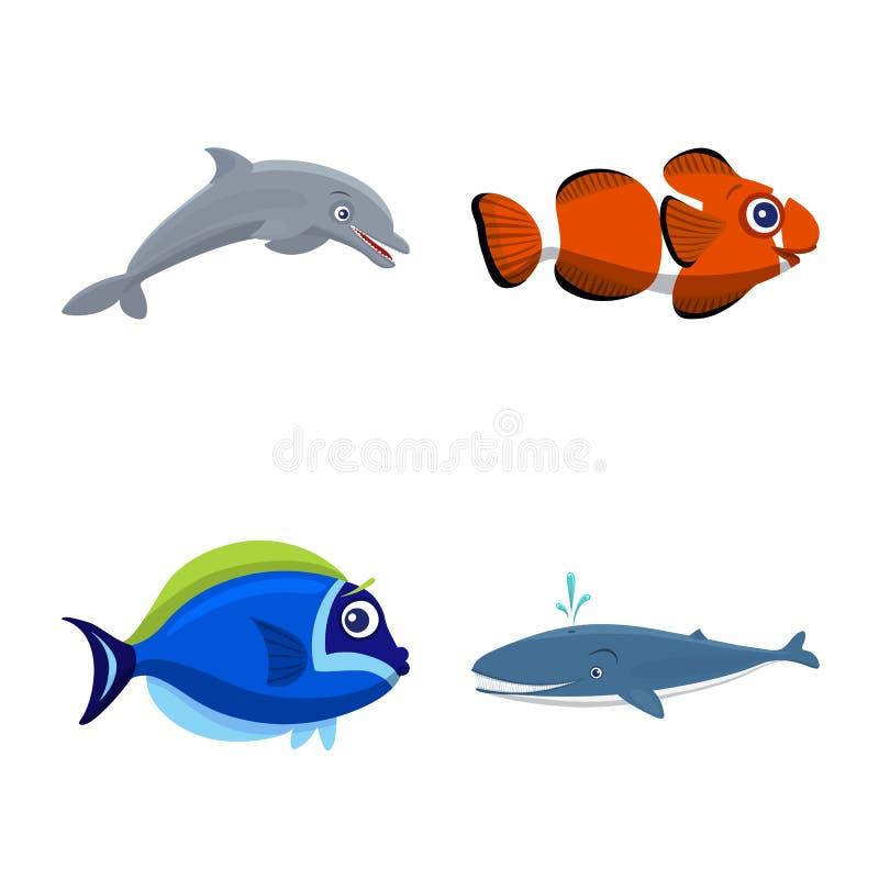 Διανυσματικό σχέδιο της θάλασσας και του ζωικού λογότυπου Σύνολο θάλασσας και θαλάσσιου διανυσματικού εικονιδίου για το απόθεμα απεικόνιση αποθεμάτων