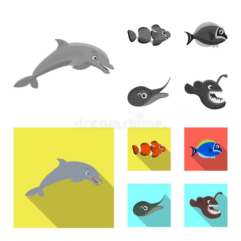 Διανυσματικό σχέδιο της θάλασσας και του ζωικού λογότυπου Σύνολο θάλασσας και θαλάσσιου διανυσματικού εικονιδίου για το απόθεμα διανυσματική απεικόνιση