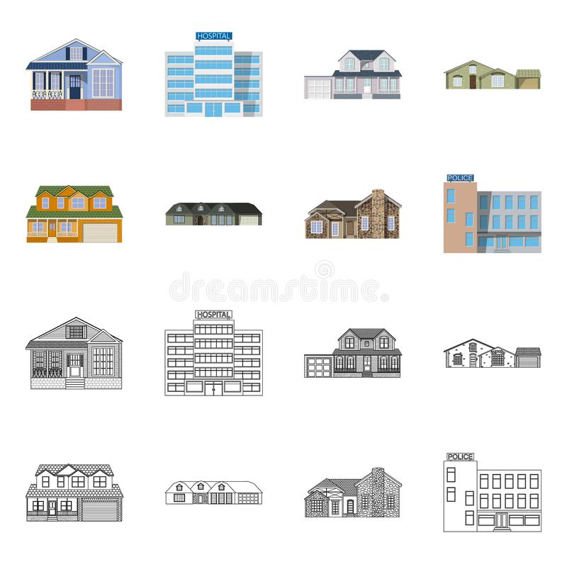 Διανυσματικό σχέδιο της οικοδόμησης και του μπροστινού συμβόλου Σύνολο οικοδόμησης και συμβόλου αποθεμάτων στεγών για τον Ιστό ελεύθερη απεικόνιση δικαιώματος