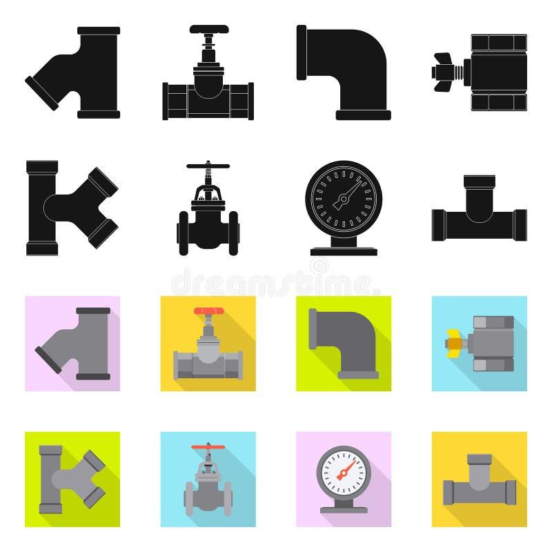 Διανυσματικό σχέδιο του εικονιδίου σωλήνων και σωλήνων Σύνολο διανυσματικού εικονιδίου σωλήνων και σωληνώσεων για το απόθεμα διανυσματική απεικόνιση