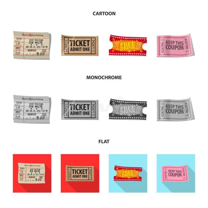 Διανυσματικό σχέδιο του εισιτηρίου και του εικονιδίου αποδοχής Συλλογή του εισιτηρίου και του διανυσματικού εικονιδίου γεγονότος  απεικόνιση αποθεμάτων