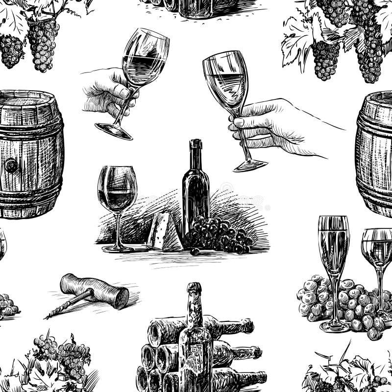 Διανυσματικό σχέδιο του θέματος της κατασκευής κρασιού απεικόνιση αποθεμάτων