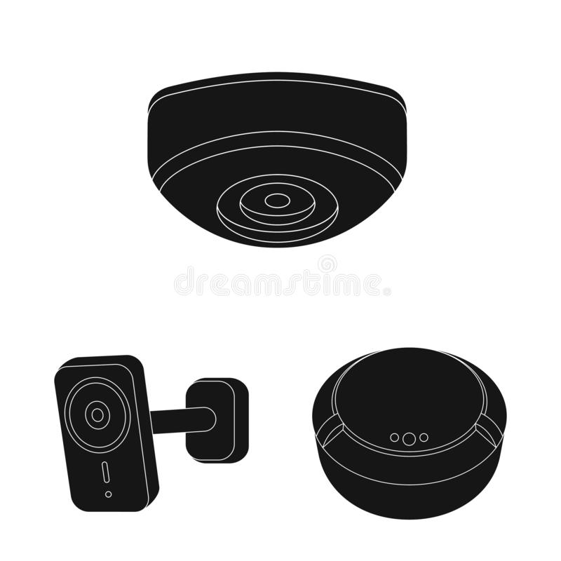 Διανυσματικό σχέδιο του λογότυπου CCTV και καμερών Συλλογή του CCTV και του διανυσματικού εικονιδίου συστημάτων για το απόθεμα ελεύθερη απεικόνιση δικαιώματος