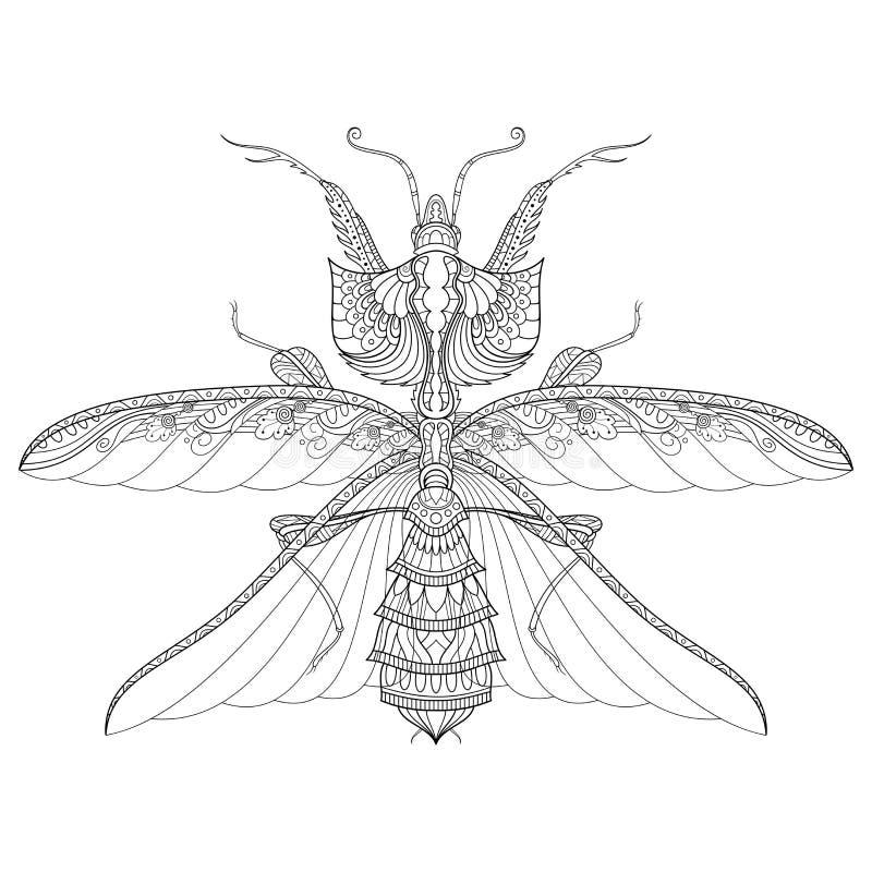 Διανυσματικό σχέδιο του λουλουδιού Mantis ή Idolomantis Diabolica διαβόλων ` s ελεύθερη απεικόνιση δικαιώματος