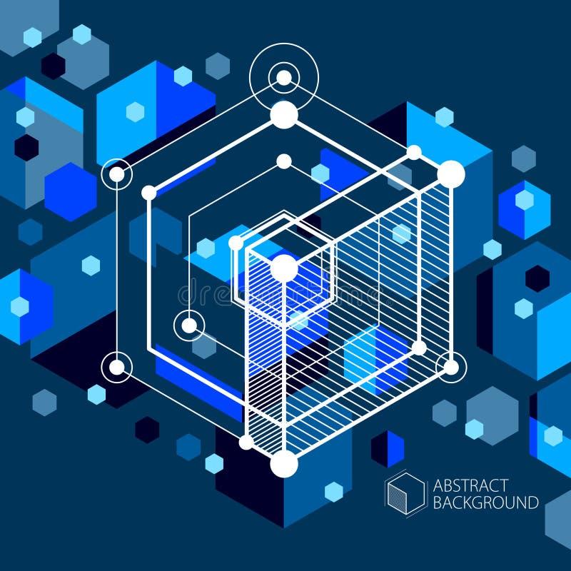 Διανυσματικό σχέδιο του μπλε μαύρου βιομηχανικού συστήματος που δημιουργείται με τη γραμμή ελεύθερη απεικόνιση δικαιώματος