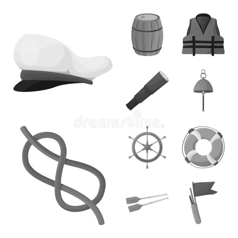 Διανυσματικό σχέδιο του ναυτικού και σημαδιού ταξιδιών Συλλογή του ναυτικού και ναυτικού διανυσματικού εικονιδίου για το απόθεμα διανυσματική απεικόνιση