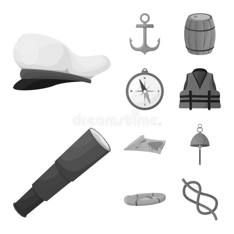 Διανυσματικό σχέδιο του ναυτικού και συμβόλου ταξιδιών Σύνολο συμβόλου ναυτικών και ναυτικών αποθεμάτων για τον Ιστό απεικόνιση αποθεμάτων