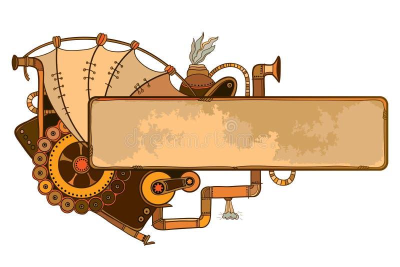 Διανυσματικό σχέδιο του οριζόντιου πλαισίου περιλήψεων steampunk με τα μηχανικούς εργαλεία και τους σωλήνες στο μπεζ και καφετιού διανυσματική απεικόνιση