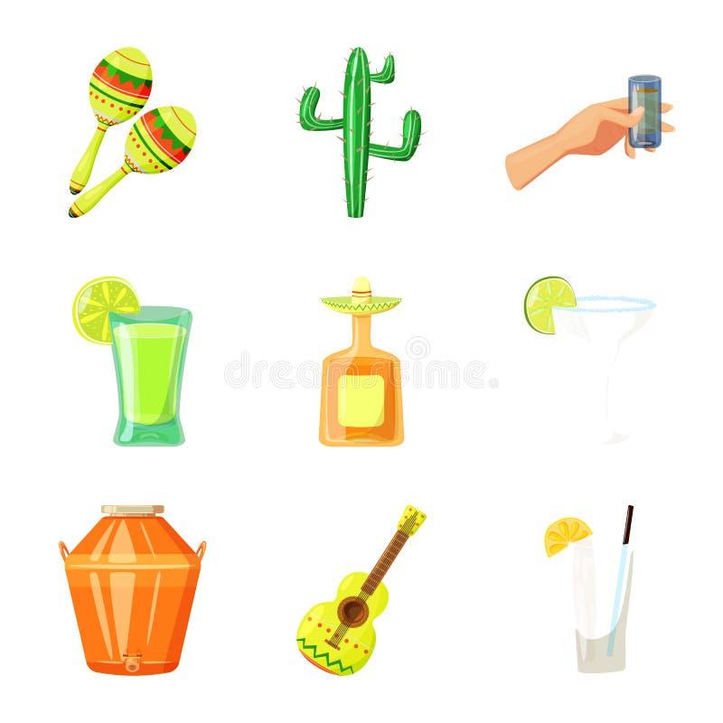 Διανυσματικό σχέδιο του σημαδιού του Μεξικού και tequila Συλλογή του Μεξικού και του συμβόλου αποθεμάτων γιορτής για τον Ιστό ελεύθερη απεικόνιση δικαιώματος