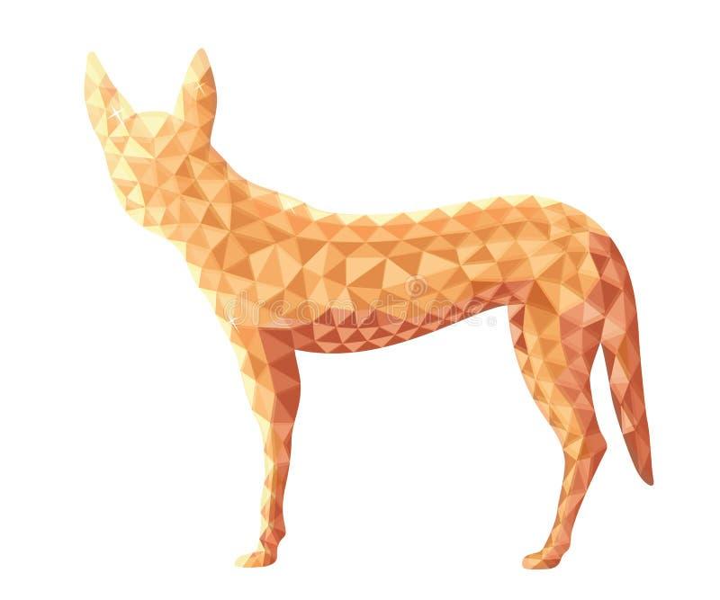 Διανυσματικό σχέδιο του σκυλιού Dingo στο χαμηλό πολυ ύφος απεικόνιση αποθεμάτων