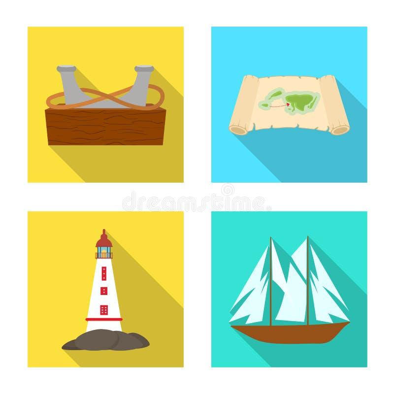 Διανυσματικό σχέδιο του ταξιδιού και του εικονιδίου ιδιοτήτων Σύνολο διανυσματικής απεικόνισης αποθεμάτων ταξιδιού και ναυτιλίας διανυσματική απεικόνιση