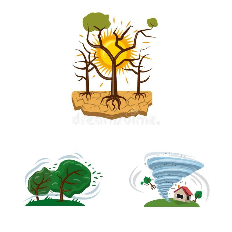 Διανυσματικό σχέδιο του φυσικού και συμβόλου καταστροφής Σύνολο φυσικού και διανυσματικού εικονιδίου κινδύνου για το απόθεμα ελεύθερη απεικόνιση δικαιώματος