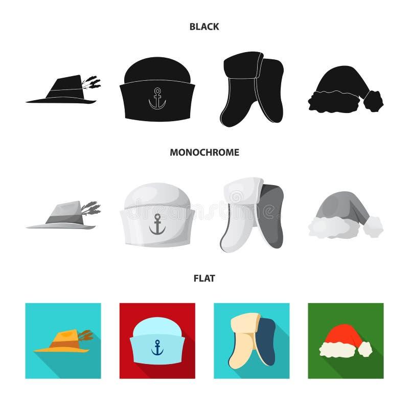 Διανυσματικό σχέδιο του headwear και λογότυπου ΚΑΠ Σύνολο headwear και βοηθητικής διανυσματικής απεικόνισης αποθεμάτων διανυσματική απεικόνιση