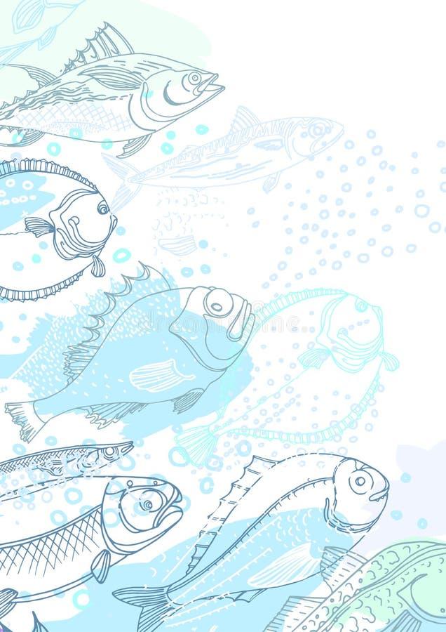 Διανυσματικό σχέδιο των ψαριών θάλασσας καθολικός Ιστός προτύπων σελίδων χαιρετισμού καρτών ανασκόπησης doodle ελεύθερη απεικόνιση δικαιώματος