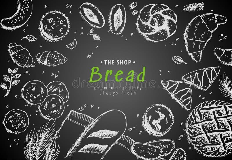 Διανυσματικό σχέδιο υποβάθρου αρτοποιείων εκλεκτής ποιότητας Συρμένη χέρι απεικόνιση σκίτσων ψωμιού με το σίτο, αλεύρι στο σκοτει διανυσματική απεικόνιση