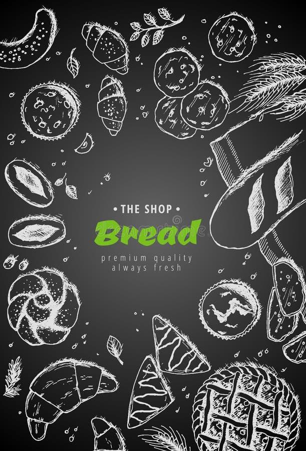 Διανυσματικό σχέδιο υποβάθρου αρτοποιείων εκλεκτής ποιότητας Συρμένη χέρι απεικόνιση σκίτσων ψωμιού με το σίτο, αλεύρι στο σκοτει απεικόνιση αποθεμάτων
