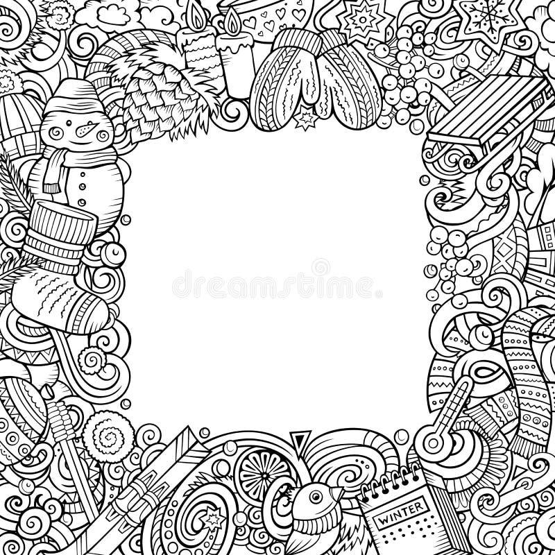 Διανυσματικό σχέδιο χειμερινών τετραγωνικό πλαισίων doodles κινούμενων σχεδίων ελεύθερη απεικόνιση δικαιώματος