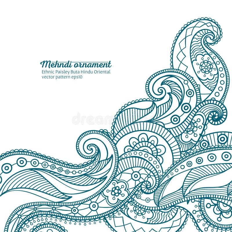 Διανυσματικό σχέδιο Mehndi, ινδή ασιατική διακόσμηση buta του Paisley διανυσματική απεικόνιση