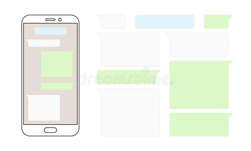 Διανυσματικό σχέδιο smartphone συνομιλίας φυσαλίδων μηνυμάτων διανυσματική απεικόνιση