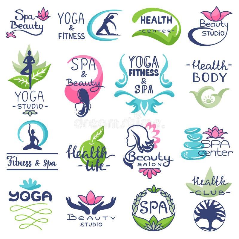 Διανυσματικό σχέδιο SPA-κεντρικής logotype εγγραφής ομορφιάς λογότυπων SPA με το φυσικό σύνολο απεικόνισης συμβόλων λουλουδιών ή  απεικόνιση αποθεμάτων