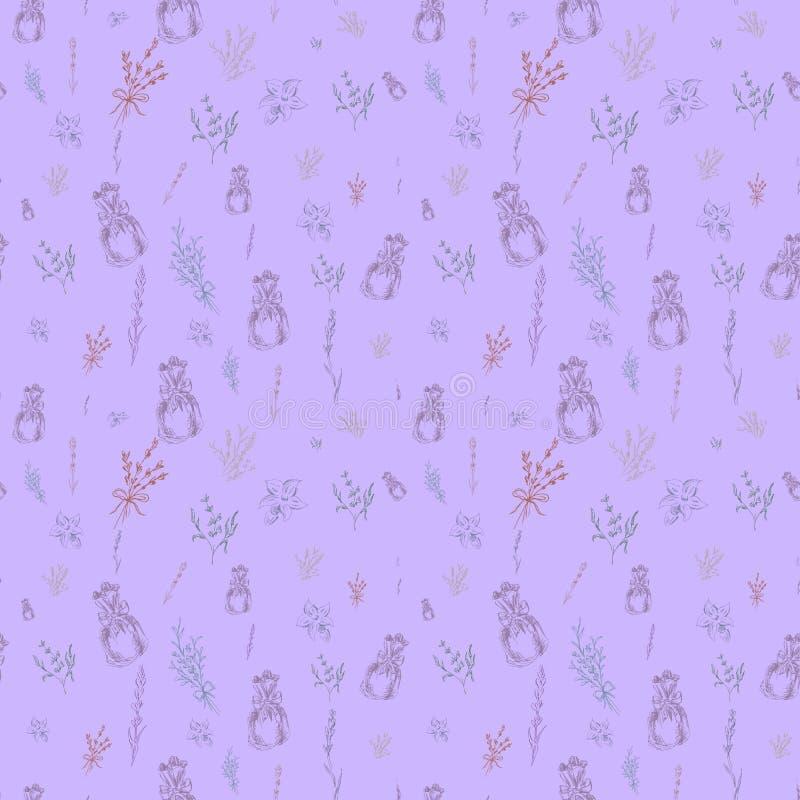 Διανυσματικό σχέδιο Watercolor με Lavender Ζωγραφική χεριών watercolor Άνευ ραφής σχέδιο για το ύφασμα, το έγγραφο και άλλους εκτ στοκ φωτογραφίες με δικαίωμα ελεύθερης χρήσης