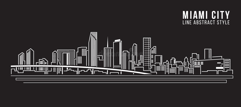 Διανυσματικό σχέδιο απεικόνισης τέχνης γραμμών κτηρίου εικονικής παράστασης πόλης - πόλη του Μαϊάμι απεικόνιση αποθεμάτων