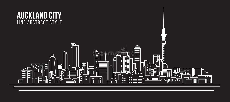 Διανυσματικό σχέδιο απεικόνισης τέχνης γραμμών κτηρίου εικονικής παράστασης πόλης - πόλη του Ώκλαντ ελεύθερη απεικόνιση δικαιώματος