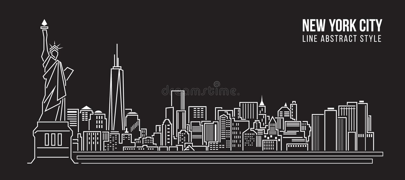 Διανυσματικό σχέδιο απεικόνισης τέχνης γραμμών κτηρίου εικονικής παράστασης πόλης - πόλη της Νέας Υόρκης απεικόνιση αποθεμάτων