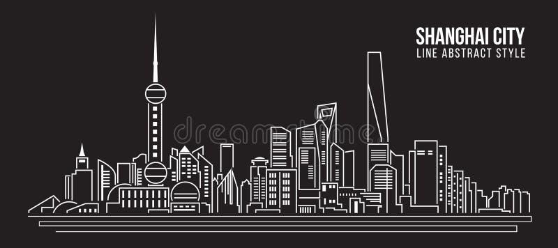 Διανυσματικό σχέδιο απεικόνισης τέχνης γραμμών κτηρίου εικονικής παράστασης πόλης - πόλη της Σαγκάη απεικόνιση αποθεμάτων