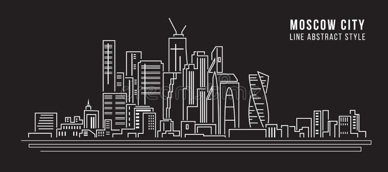 Διανυσματικό σχέδιο απεικόνισης τέχνης γραμμών κτηρίου εικονικής παράστασης πόλης - πόλη της Μόσχας διανυσματική απεικόνιση