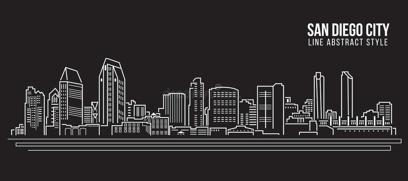 Διανυσματικό σχέδιο απεικόνισης τέχνης γραμμών κτηρίου εικονικής παράστασης πόλης - πόλη του Σαν Ντιέγκο ελεύθερη απεικόνιση δικαιώματος