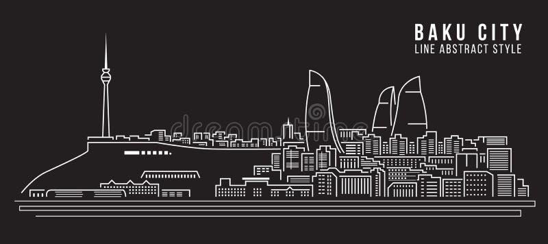 Διανυσματικό σχέδιο απεικόνισης τέχνης γραμμών κτηρίου εικονικής παράστασης πόλης - πόλη του Μπακού διανυσματική απεικόνιση