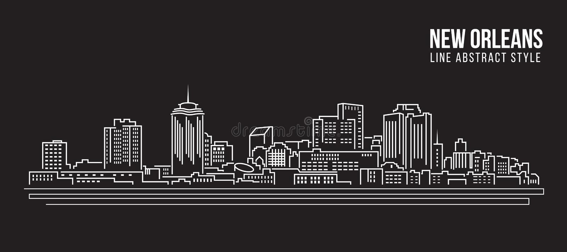 Διανυσματικό σχέδιο απεικόνισης τέχνης γραμμών κτηρίου εικονικής παράστασης πόλης - πόλη της Νέας Ορλεάνης διανυσματική απεικόνιση