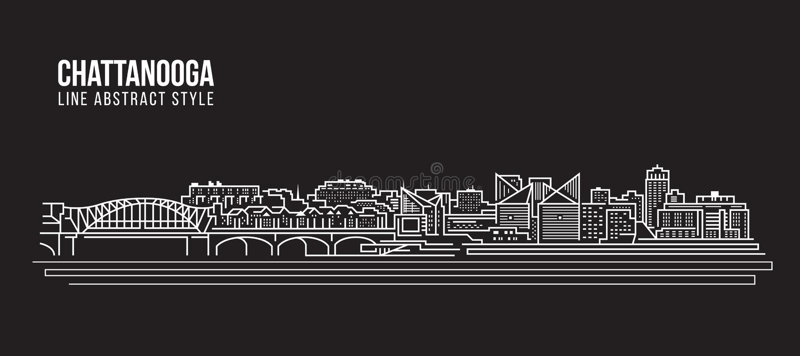 Διανυσματικό σχέδιο απεικόνισης τέχνης γραμμών κτηρίου εικονικής παράστασης πόλης - πόλη του Σατανούγκα διανυσματική απεικόνιση