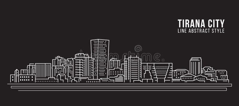 Διανυσματικό σχέδιο απεικόνισης τέχνης γραμμών κτηρίου εικονικής παράστασης πόλης - πόλη των Τιράνων ελεύθερη απεικόνιση δικαιώματος