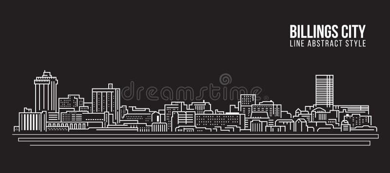 Διανυσματικό σχέδιο απεικόνισης τέχνης γραμμών κτηρίου εικονικής παράστασης πόλης - πόλη του Billings απεικόνιση αποθεμάτων