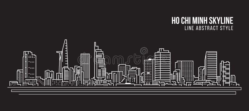 Διανυσματικό σχέδιο απεικόνισης τέχνης γραμμών κτηρίου εικονικής παράστασης πόλης - πόλη του Ho Chi Minh ελεύθερη απεικόνιση δικαιώματος