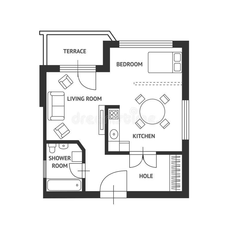 Διανυσματικό σχέδιο αρχιτεκτόνων με έπιπλα επίπεδα απεικόνιση αποθεμάτων