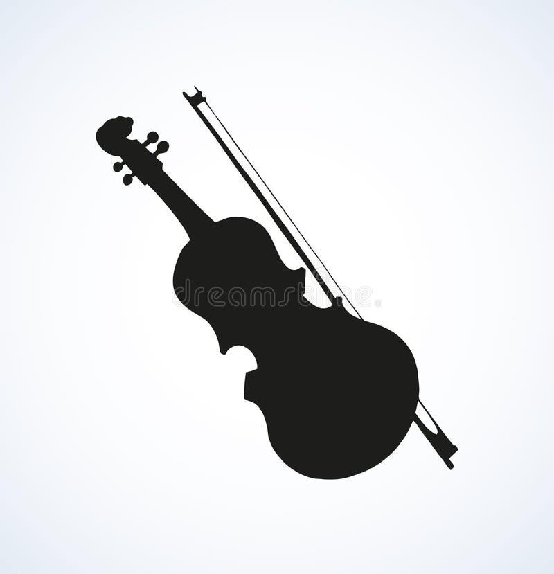 Διανυσματικό σχέδιο γραμμών ενός βιολιού και ενός τόξου διανυσματική απεικόνιση