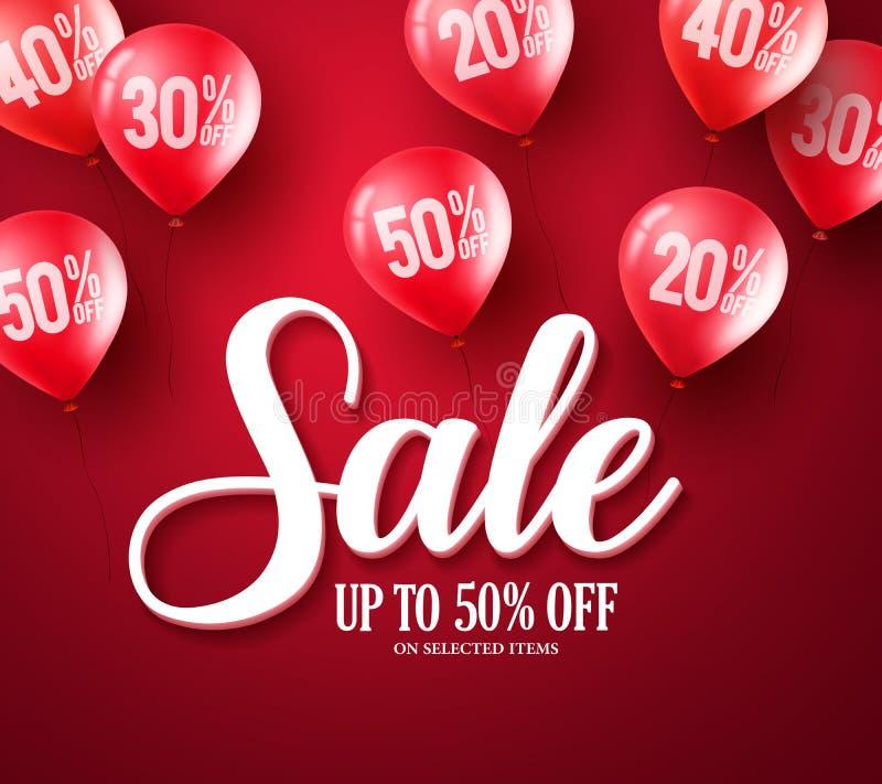 Διανυσματικό σχέδιο εμβλημάτων κειμένων τυπογραφίας πώλησης με τα κόκκινα στοιχεία μπαλονιών απεικόνιση αποθεμάτων