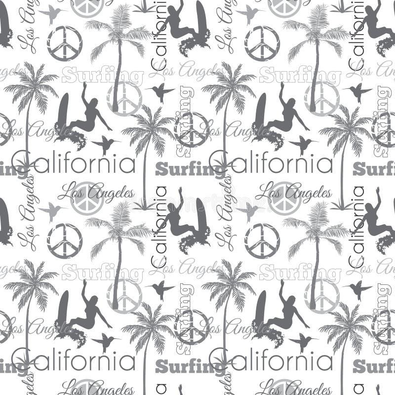Διανυσματικό σχέδιο επιφάνειας σχεδίων σερφ Καλιφόρνια γκρίζο άνευ ραφής με τις κάνοντας σερφ γυναίκες, φοίνικες, σημάδια ειρήνης απεικόνιση αποθεμάτων