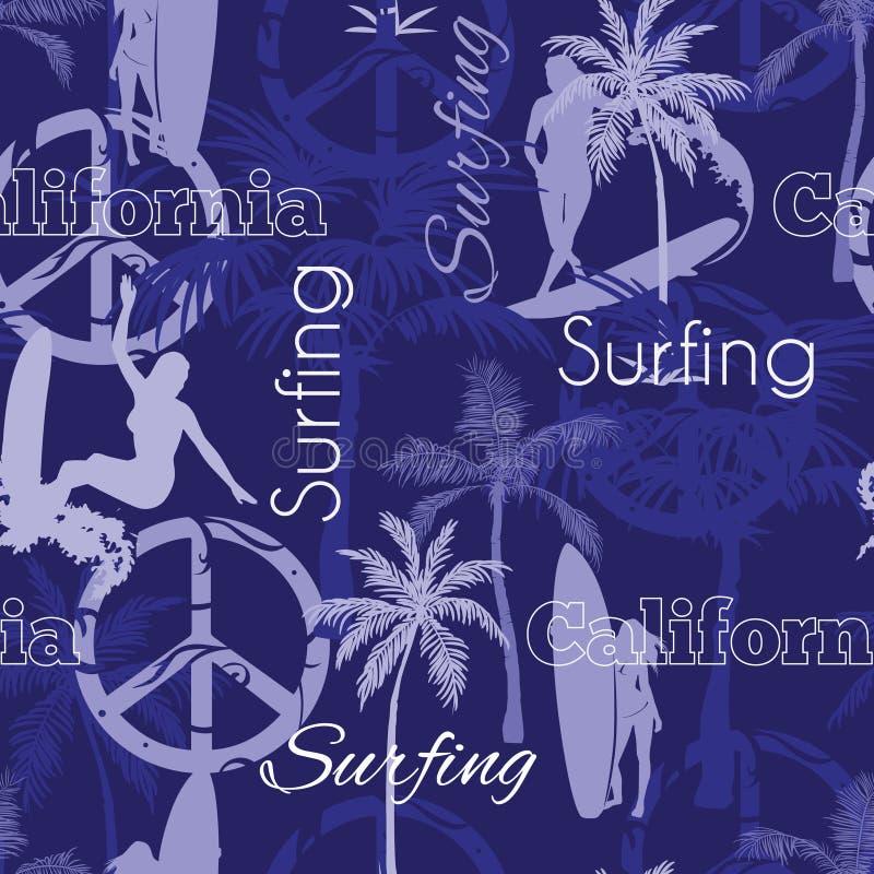 Διανυσματικό σχέδιο επιφάνειας σχεδίων σερφ Καλιφόρνια μπλε άνευ ραφής με τις κάνοντας σερφ γυναίκες, φοίνικες, σημάδια ειρήνης,  ελεύθερη απεικόνιση δικαιώματος