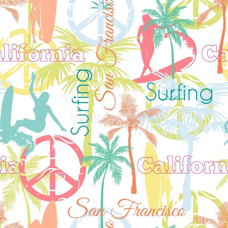 Διανυσματικό σχέδιο επιφάνειας σχεδίων σερφ Καλιφόρνια Σαν Φρανσίσκο ζωηρόχρωμο άνευ ραφής με τις ενεργές γυναίκες, φοίνικες, ειρ διανυσματική απεικόνιση