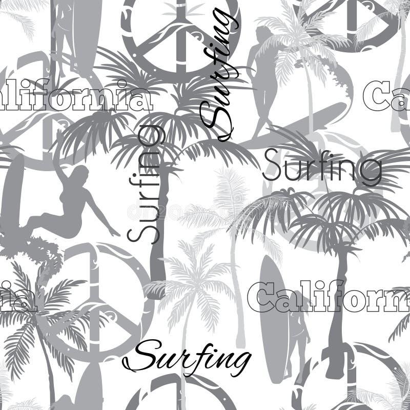 Διανυσματικό σχέδιο επιφάνειας σχεδίων σερφ Καλιφόρνια Grayscale άνευ ραφής με τα φίλαθλα κορίτσια, φοίνικες, σημάδια ειρήνης, κυ ελεύθερη απεικόνιση δικαιώματος