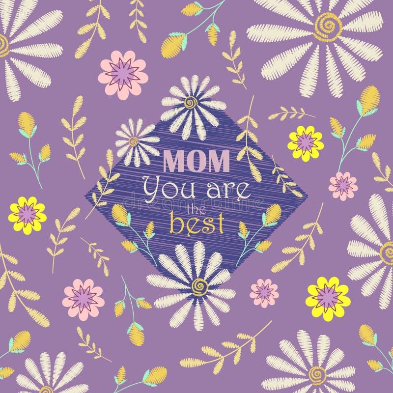 Διανυσματικό σχέδιο ευχετήριων καρτών στην ημέρα μητέρων Το Mom, εσείς είναι το καλύτερο διανυσματική απεικόνιση