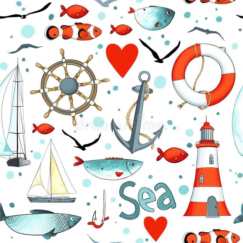 Διανυσματικό σχέδιο θάλασσας με τα ναυτικά στοιχεία διανυσματική απεικόνιση